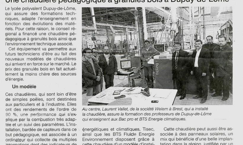 Installation banc chaudière pellet pour le Lycée Dupuy de Lôme
