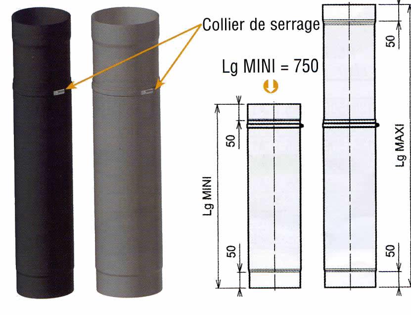 tuyau coulissant maill noir mat pour po le 150mm hmax1050 welem. Black Bedroom Furniture Sets. Home Design Ideas