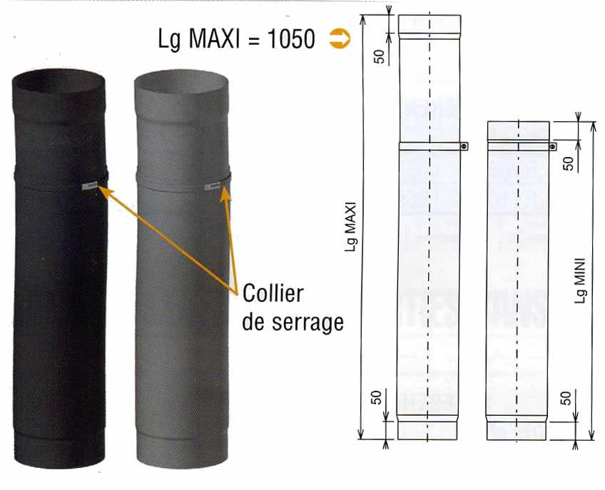 tuyau acier coulissant noir mat pour po le 150mm. Black Bedroom Furniture Sets. Home Design Ideas